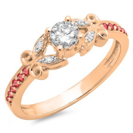 0.50 Carat (ctw) 10K Rose Gold Round Ruby & White Diamond Ladies Bridal Unique Vintage Style Engagement Ring 1/2 CT