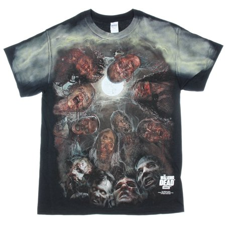 The Walking Dead Mens T-Shirt - Hungry Zombies Staring Down Allover Image (Walking Dead T Shirts For Men)
