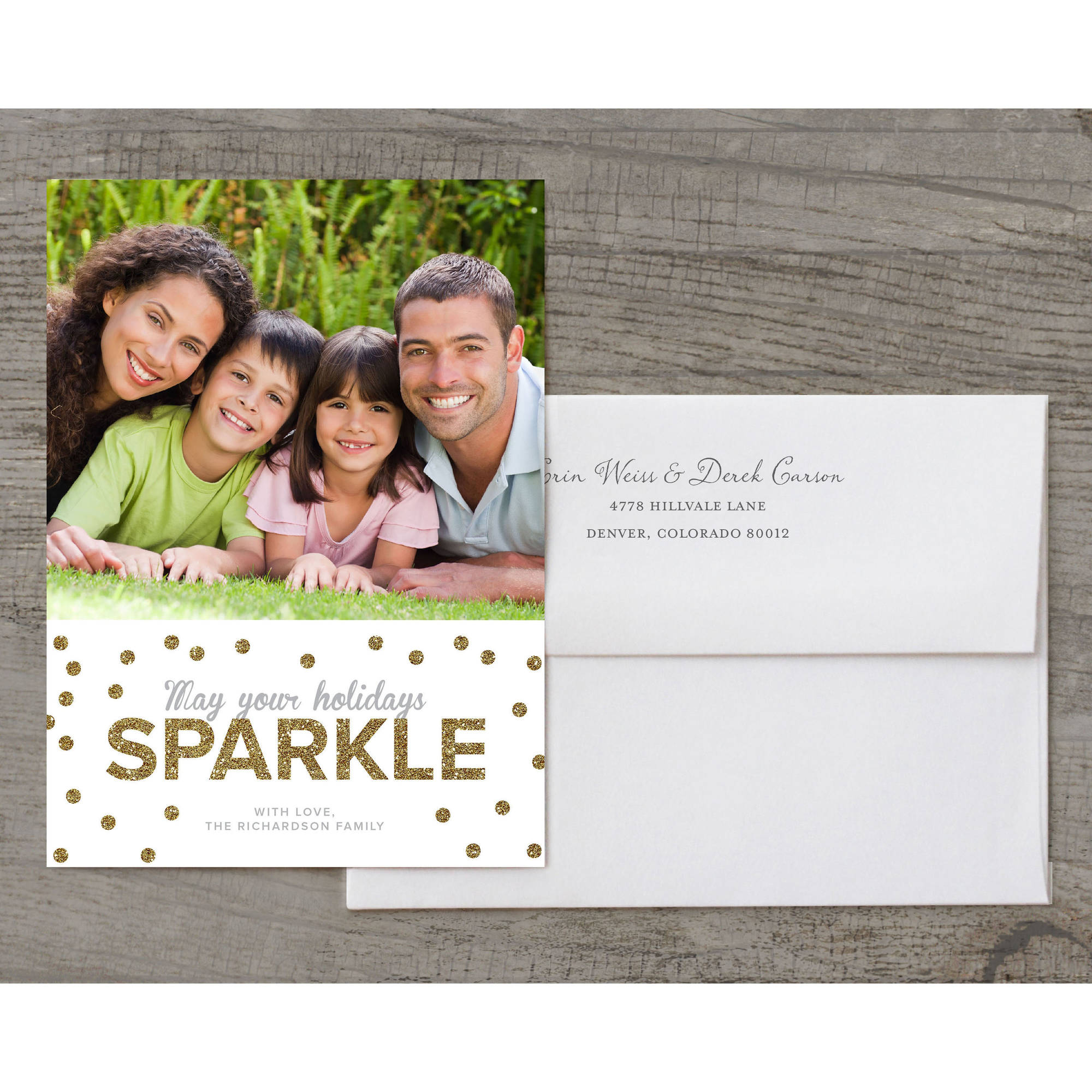 Sparkle Peace Love Joy Deluxe Holiday Card