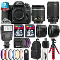 Nikon D7500 DSLR Camera + AF-P 18-55mm VR + 70-300mm G + Slave Flash - 48GB Kit