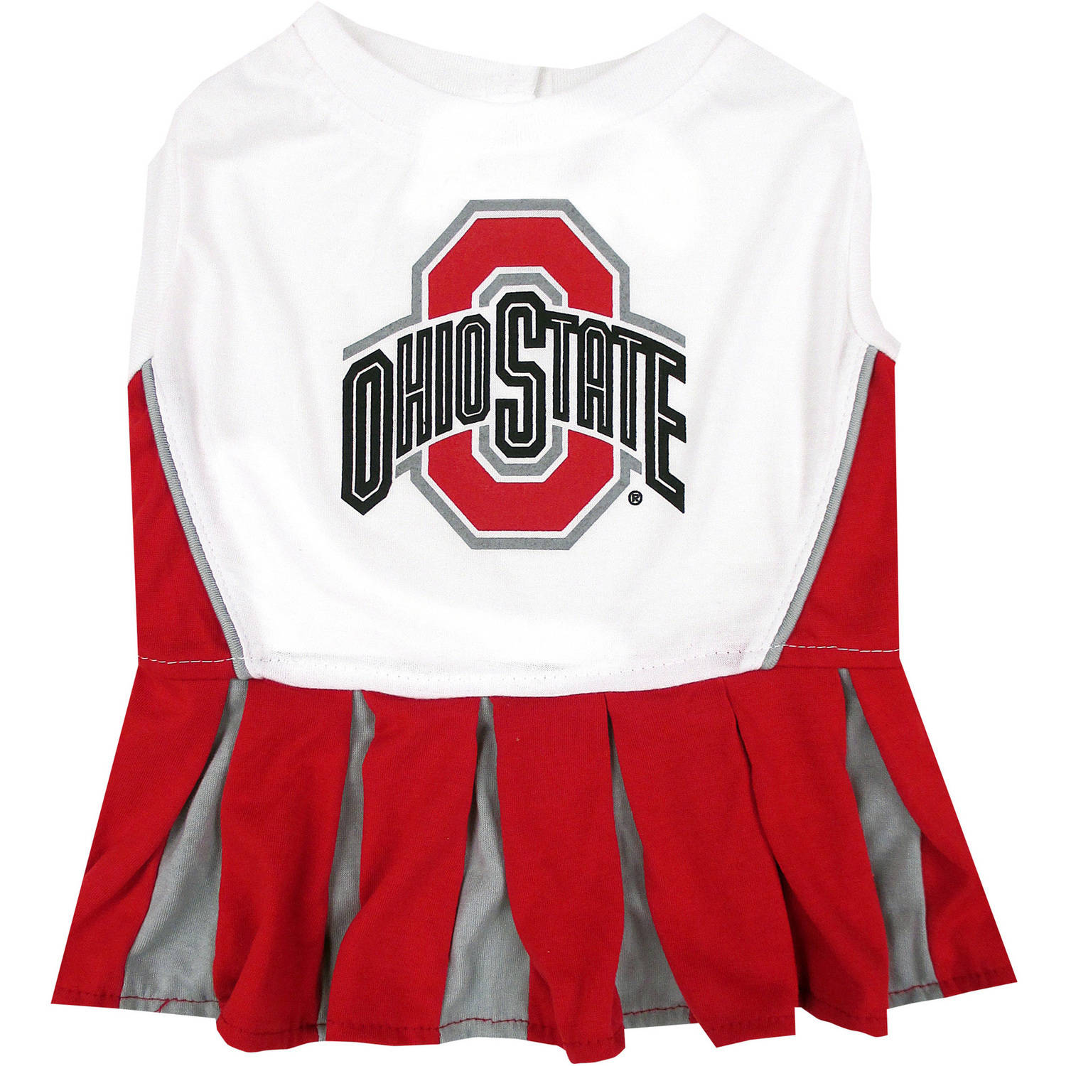 Pets First College Ohio State Buckeyes Cheerleader, 3 Sizes Pet Dress Available. Licensed Dog Outfit