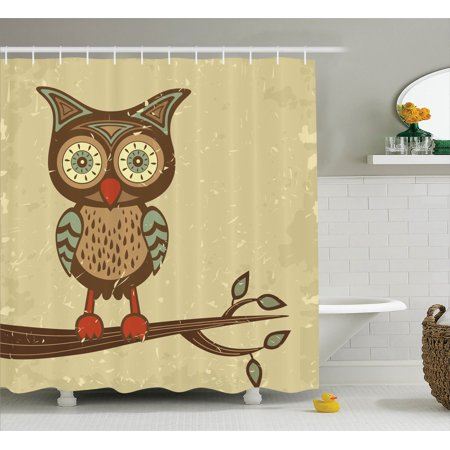 Owls Home Decor Shower Curtain Set Cute Owl Sitting On Branch Eyesight Animal Humor Pastel