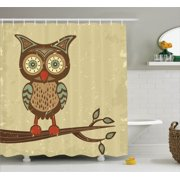 Owls Home Decor Shower Curtain Set Cute Owl Sitting On Branch Eyesight Animal Humor Pastel