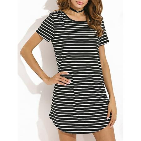 Women Dress Clearance Casual Striped Short Sleeve O Neck Mini](Dress Sale Clearance)
