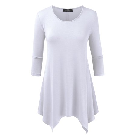 MBJ WT1392 Womens Round Neck 3/4 Sleeve Loose Fit Top L WHITE