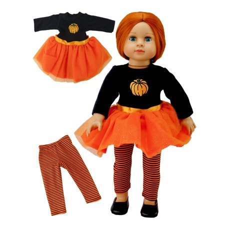 Orange Glitter Pumpkin Tutu Dress Halloween Costume| Fits 18