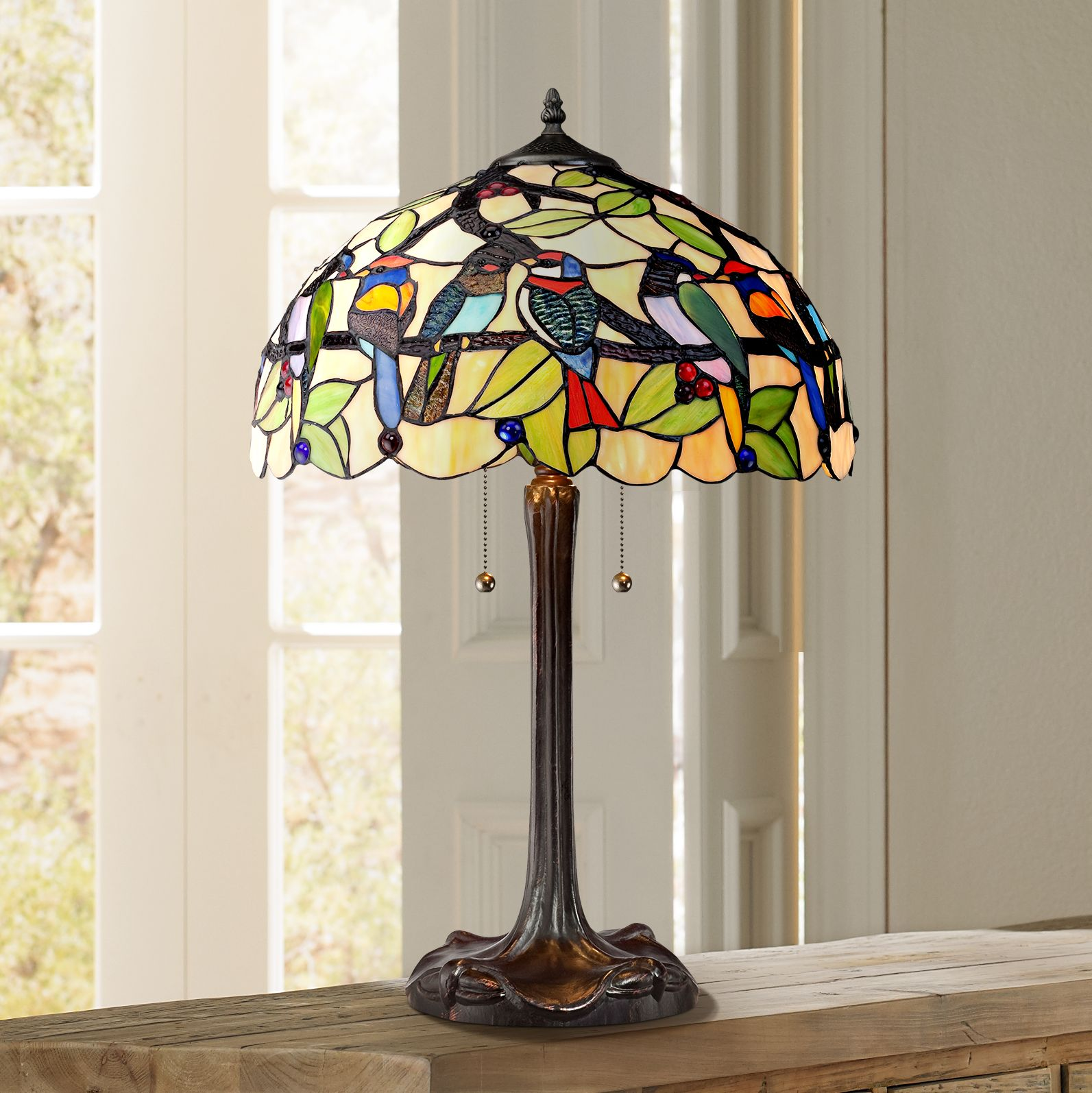 Robert Louis Tiffany Traditional Table Lamp Bronze Tropical Birds Stained Glass Shade for Living Room Family Bedroom Nightstand