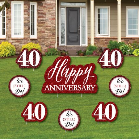 We Still Do - 40th Wedding Anniversary - Yard Sign & Outdoor Lawn Decorations - Anniversary Party Yard Signs - Set of 8](40th Decorations)
