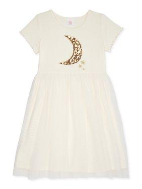 Wonder Nation Girls Glitter Graphic Tutu Dress, Sizes 4-16 & Plus
