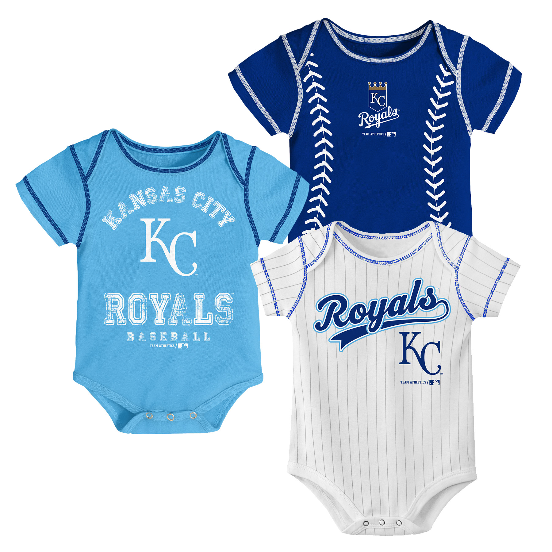 Kansas City Royals Baby Infant Footed Pajamas Bodysuit MLB Size 3-6 Months New