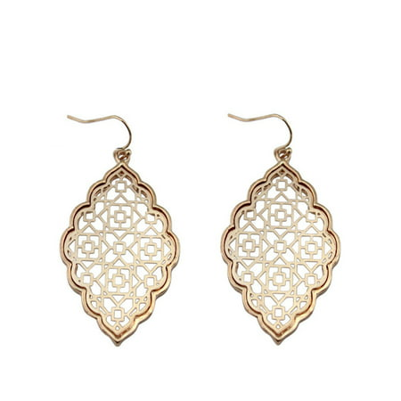 StylesILove Womens Trendy Two-Tone Moroccan Filigree Dangle Earrings (Rose -