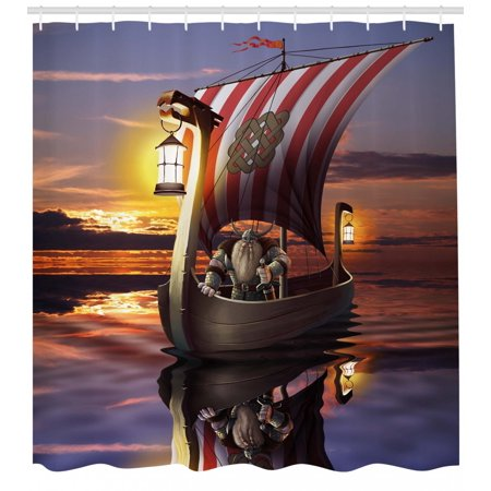Viking Shower Curtain A Warrior In Ship Twilight Barbarian Nordic Scandinavian Culture Artwork Print Fabric Bathroom Set With Hooks Multicolor
