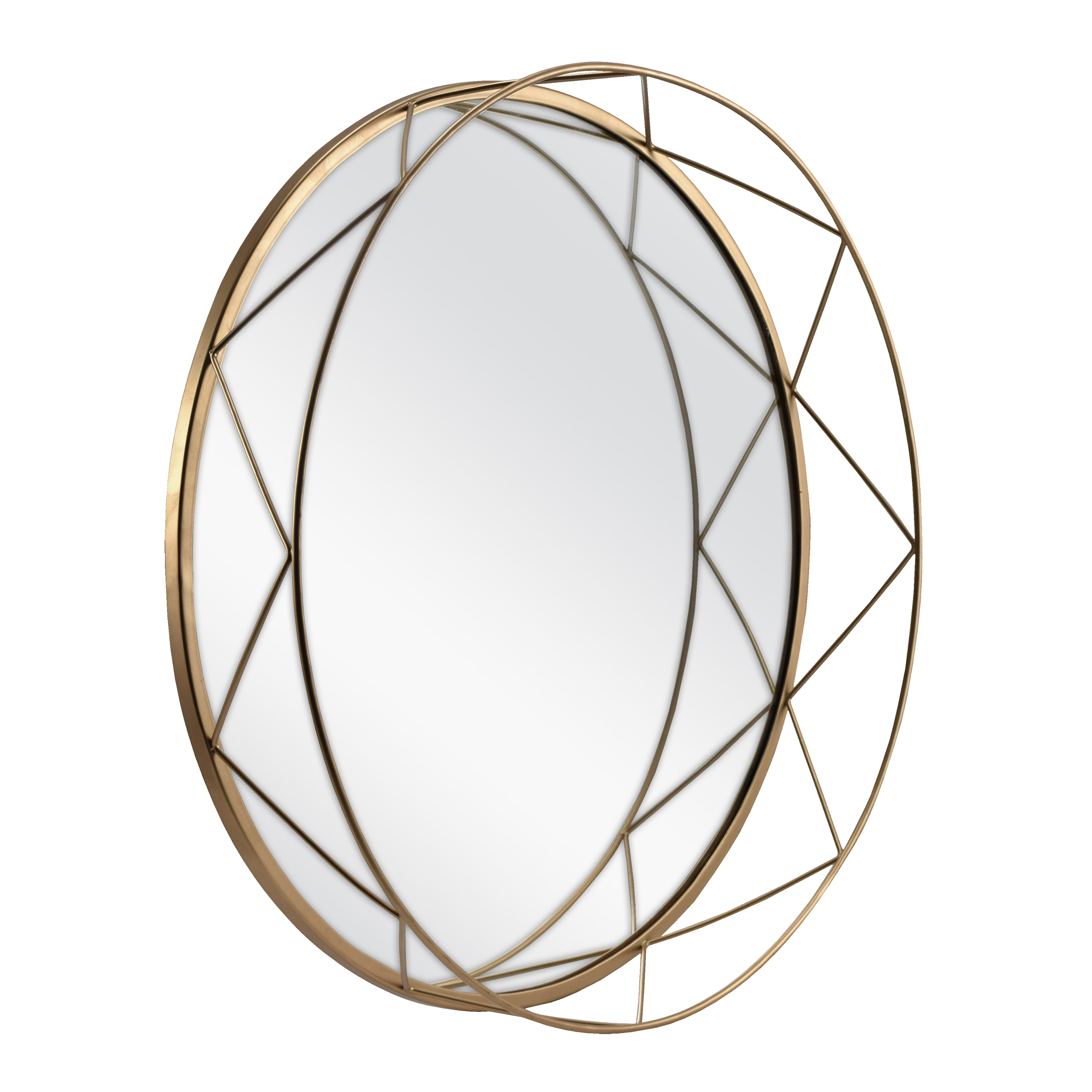 "Click here to buy Better Homes & Gardens 16"" Round Gold Metal Accent Mirrored Tray by MCS Industries, Inc.."
