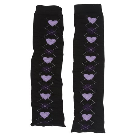 Women's Stretch Leg Warmers 2 pack 4 pieces Argyle Lilac Hearts and Diamonds](80s Leg Warmers)