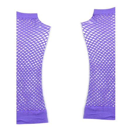 Pair Lavender Stretchy Mesh Fishnet Elbow Fingerless Goth Arm Warmers for - Goth Arm Warmers