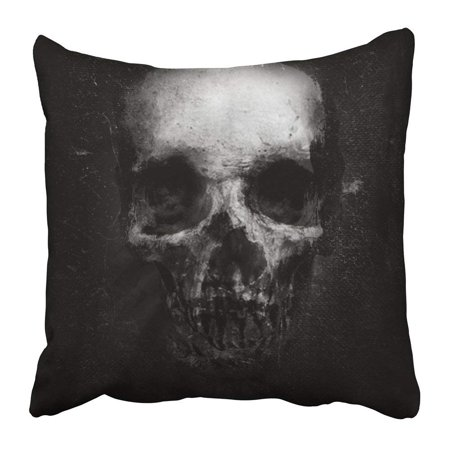 BPBOP Dark Scary Grunge Skull Black Design with Halloween Face Death Evil Monster Bone Danger Dead Pillowcase 16x16 inch - Scary Halloween Face Designs