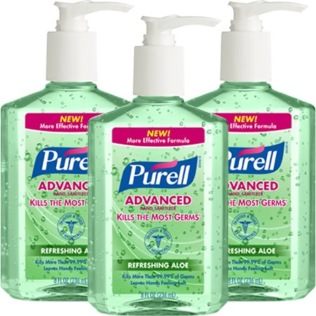 Care Instant Antibacterial Hand Gel ((3 Pack) Purell Instant Hand Sanitizer with Pump - Aloe, 8 Ounce)
