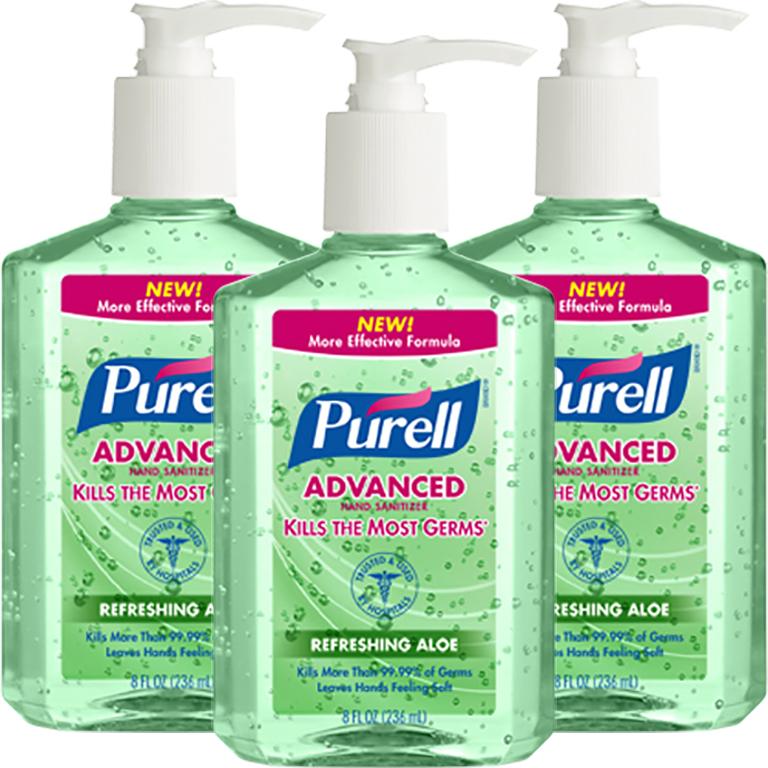 (3 Pack) Purell Instant Hand Sanitizer with Pump - Aloe, 8 Ounce