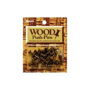 Moore Push Pin Wooden Head 20pc Walnut