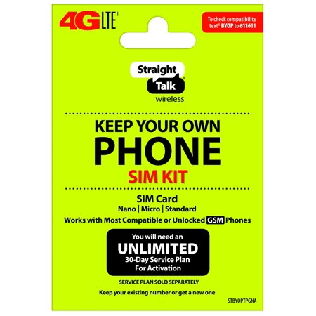 Straight Talk Keep Your Own Phone SIM Card Kit - T-Mobile GSM Compatible Devices