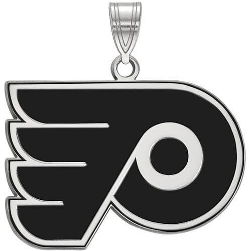 LogoArt NHL Philadelphia Flyers Sterling Silver Large Enamel Pendant