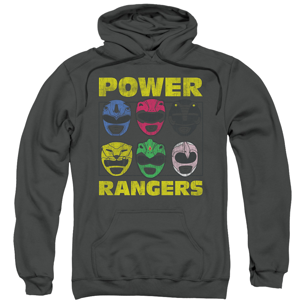 POWR RANGERS/RANGER HEADS-ADULT PULL-OVER HOODIE-CHARCOAL-MD