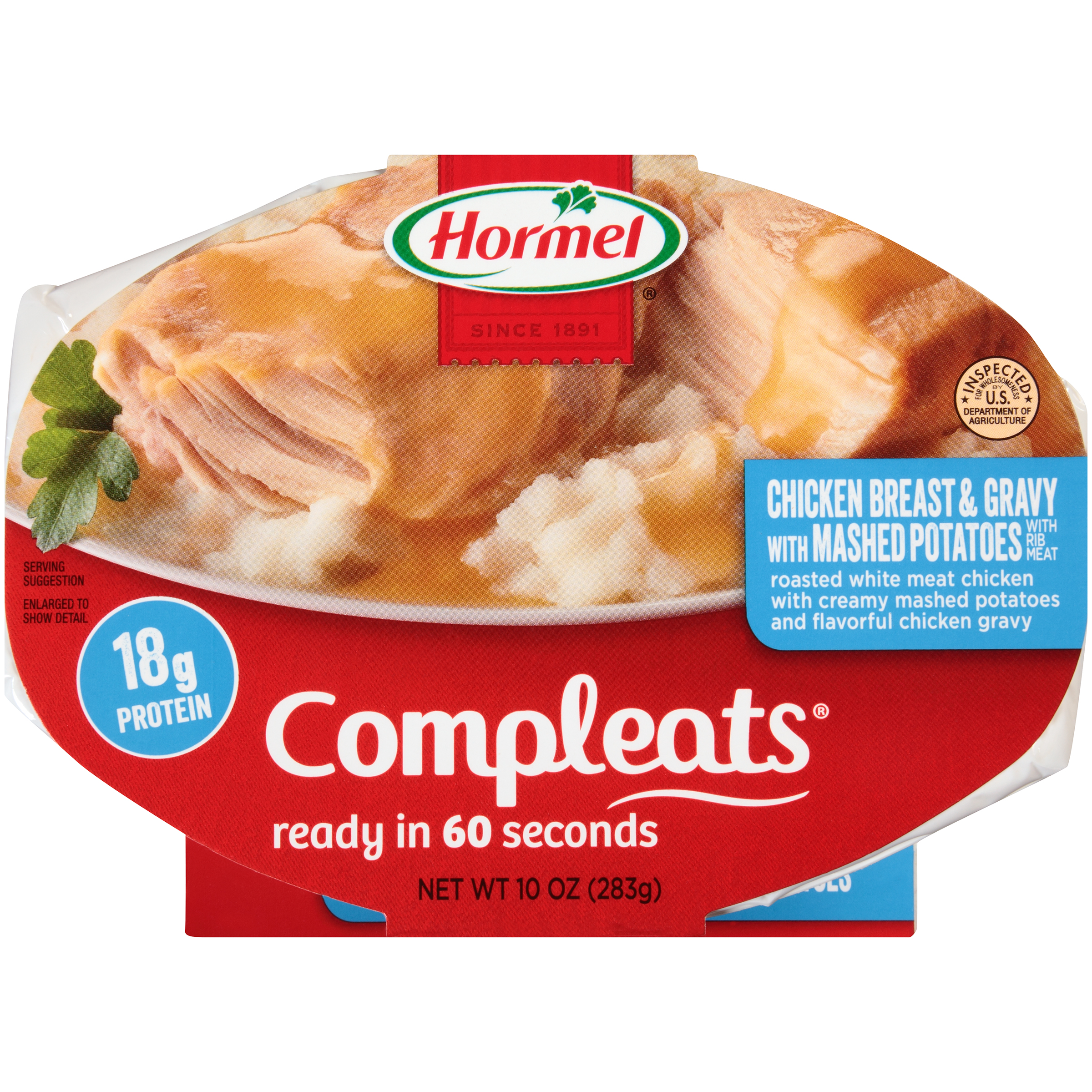 Hormel Chicken Breast & Gravy with Mashed Potatoes Compleats 10 oz Sleeve