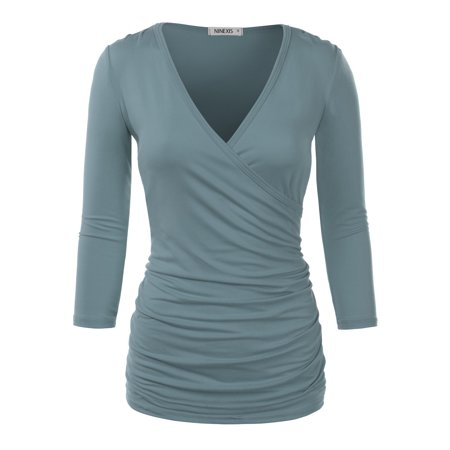3e1dacbfb7b Doublju - Doublju Women s Open V Front Wrap Pleated Slim Top Tee Long Sleeve  Ruched T Shirt DENIMBLUE 3XL Plus Size - Walmart.com