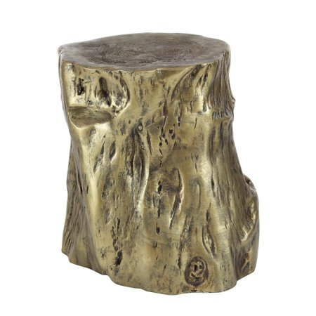 Decmode Eclectic 19 Inch Pale Gold Fiberglass Tree Trunk Foot Stool, Gold ()