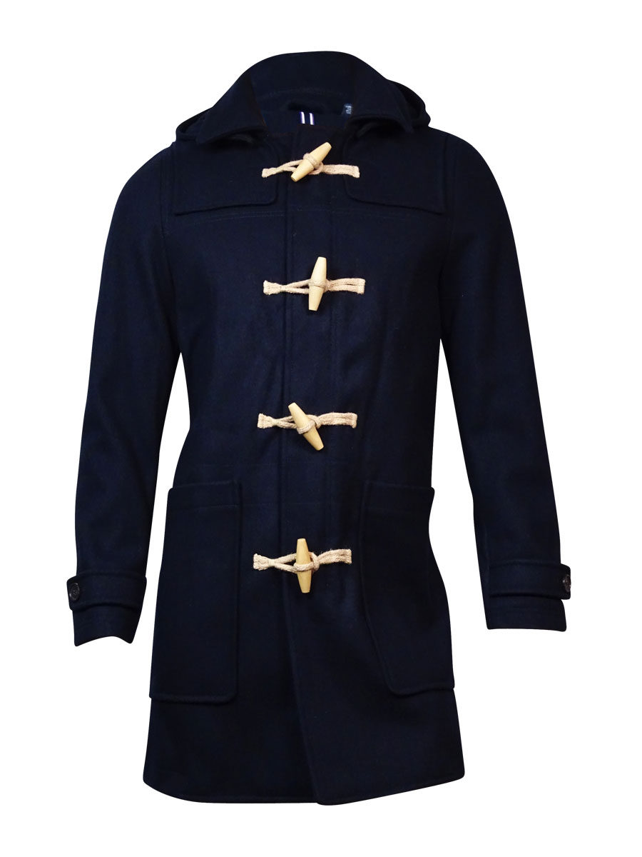 Tommy Hilfiger Men's Detachable Hooded Wool Coat (S P, Midnight ) by