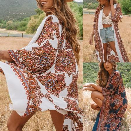 Women's Clothing Womens Boho Floral Beach Cover Up Kimono Cardigan Coat Tops Blouse Shawl Kaftan