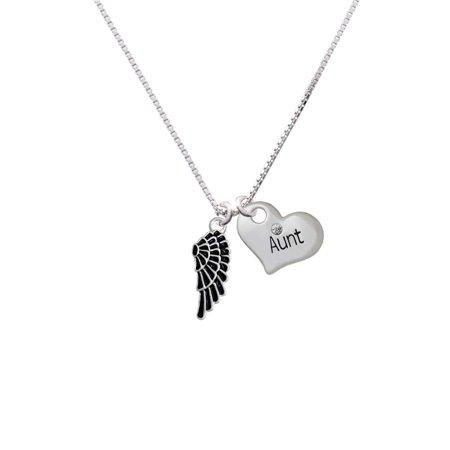 (Silvertone Medium Black Enamel Angel Wing Aunt Heart Necklace)