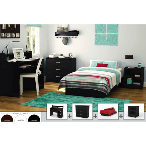 South Shore Smart Basics 4-Piece Twin Bedroom Set, Multiple Finishes