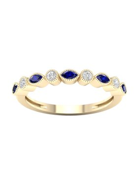 Imperial Gemstone 10K Yellow Gold Blue Sapphire 1/10 CT TW Diamond Women's Band