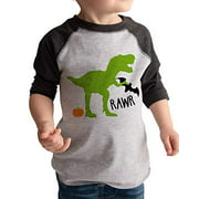 7 ate 9 Apparel Boy's Dinosaur Halloween Raglan Tee Grey 3T