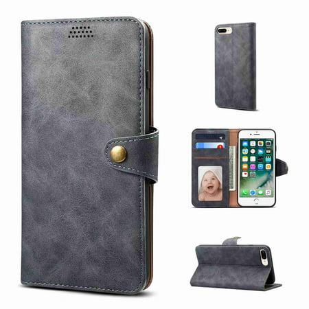 For Apple iPhone X,Dteck Luxury Cash Credit Card Slots Holder Carrying Folio Flip Cover Wallet Pouch Case Kickstand,gray