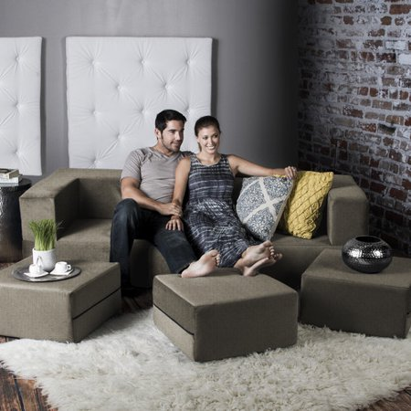 Jaxx Zipline Convertible Sleeper Sofa & Three Ottomans / California King-Size Bed,