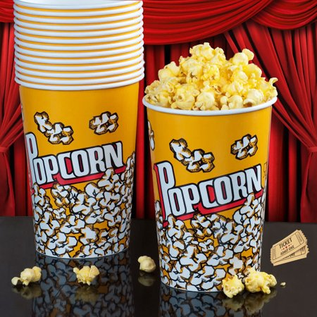 Large Popcorn Boxes (50 Pc Popcorn Bowl Large Reusable Tub Container Movies Superbowl Bucket)