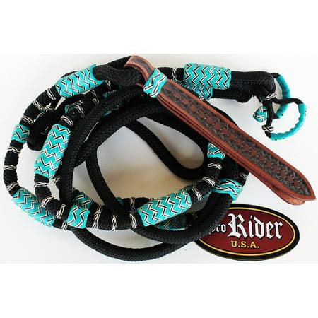 HORSE WESTERN TURQUOISE BRAIDED RAWHIDE NYLON ROMEL ROMAL ROMMEL REINS 607216 (Mini Horse Reins)