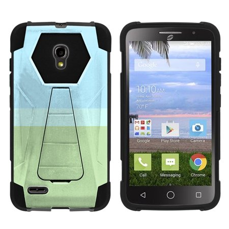 Alcatel One Touch Pop Icon 2 A846L Shock Fusion Heavy Duty Dual Layer Kickstand Case -  Color Block - Nature Pastel