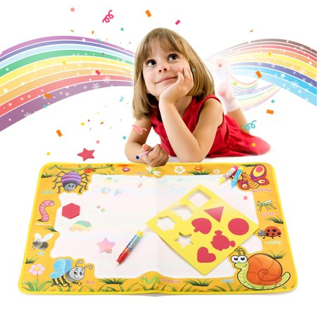 New Water Painting Draw Writing Doodle Mat Set With Pan & Graphics Blocks & Word Boards Kid Snail Developmental Doodle Board Toy With Magic Pen Early Education Toy for - Drag Block