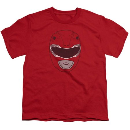 Youth: Power Rangers- Red Dino Ranger Mask Apparel Kids T-Shirt - Red (Kids Apparel Online Shopping)