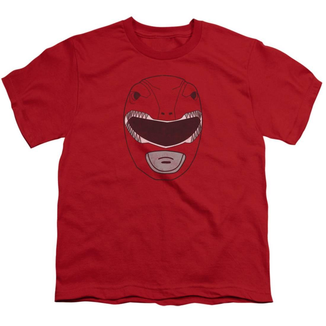 Youth: Power Rangers- Red Dino Ranger Mask Apparel Kids T-Shirt - Red