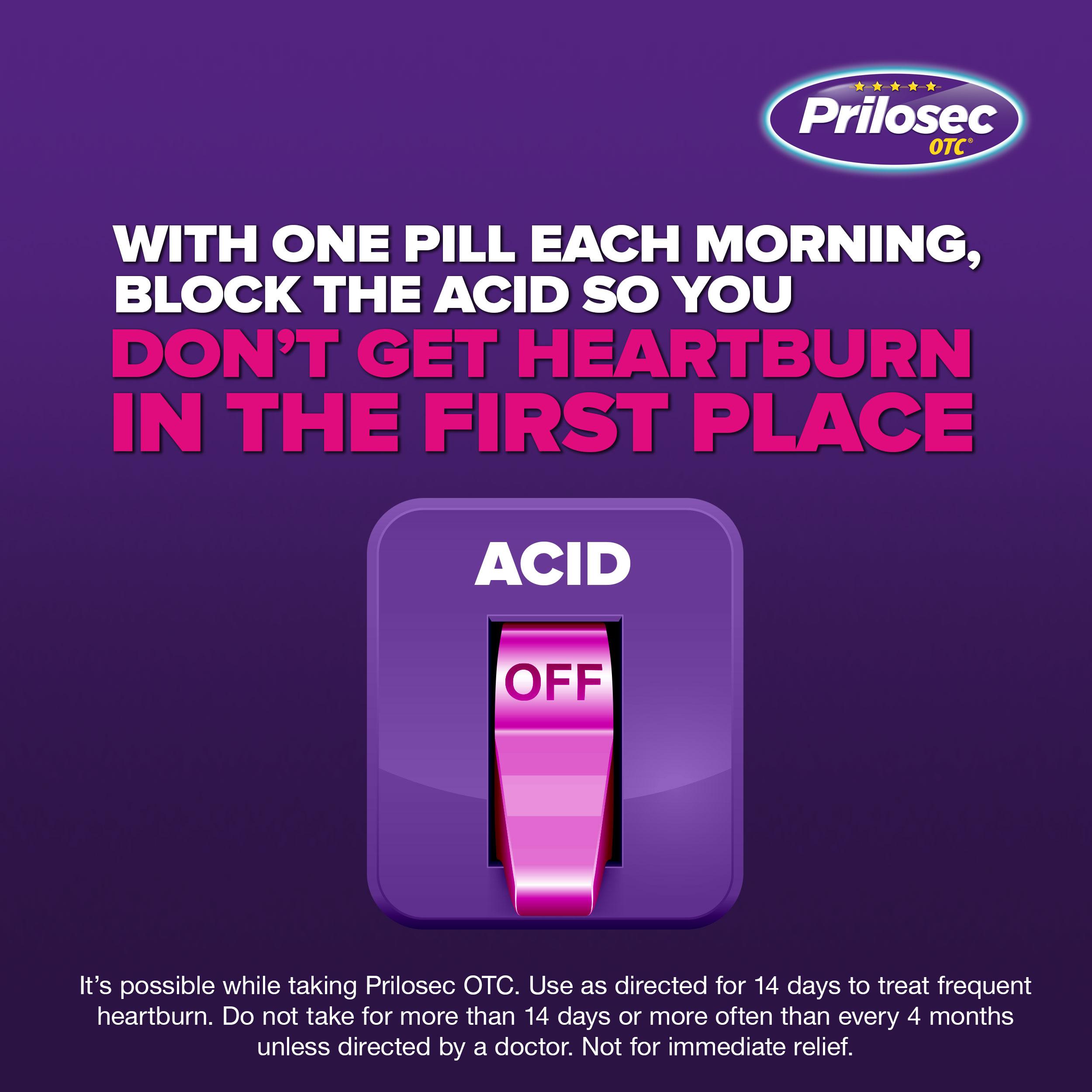 Prilosec OTC Frequent Heartburn Medicine and Acid Reflux Reducer Tablets 42  Count - Omeprazole - Proton Pump Inhibitor - PPI