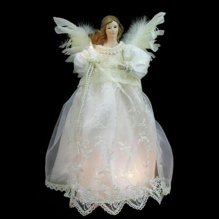 14 lighted elegant ivory angel christmas tree topper clear lights. Black Bedroom Furniture Sets. Home Design Ideas