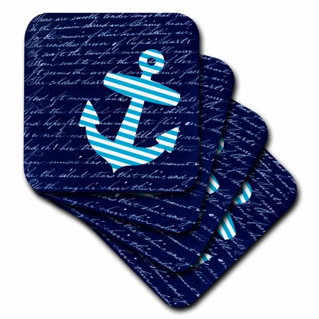 3dRose Blue and white striped anchor on black with vintage handwriting - sailor stripes nautical design - Soft Coasters, set of 4