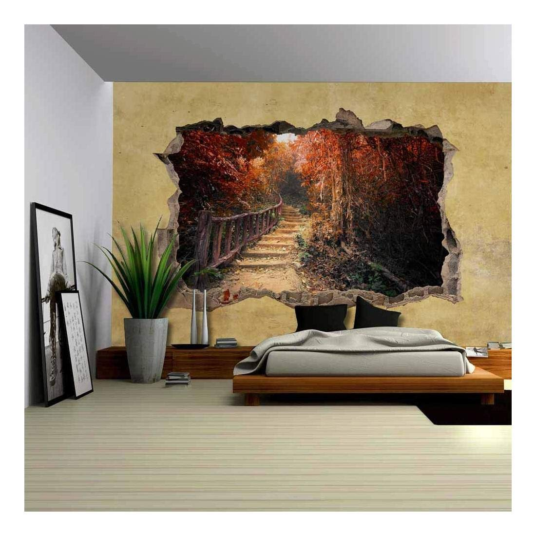 wall26 Beautiful Autumn View Viewed through a Broken Wall - Large Wall Mural, Removable Peel and Stick Wallpaper, Home Decor - 66x96 inches
