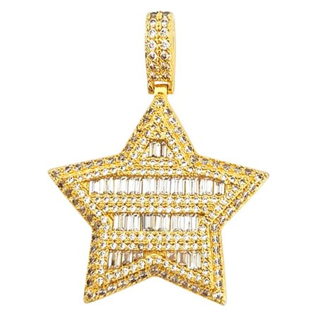 Super Star Baguette CZ Bling Bling Pendant in - Baguette Star