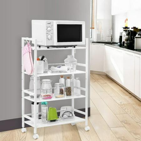 UBesGoo Shelving Rack 4 Tier Shelf Shelves Rolling Wheeled Kitchen Storage Utility Cart 4 Shelf Mobile Cart