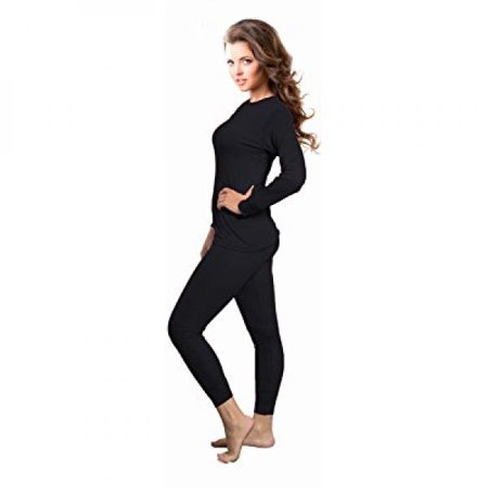 Small Thermal - Rocky Womens Thermal 2 Pc Long John Underwear Set Top and Bottom Smooth Knit (Small, Black)